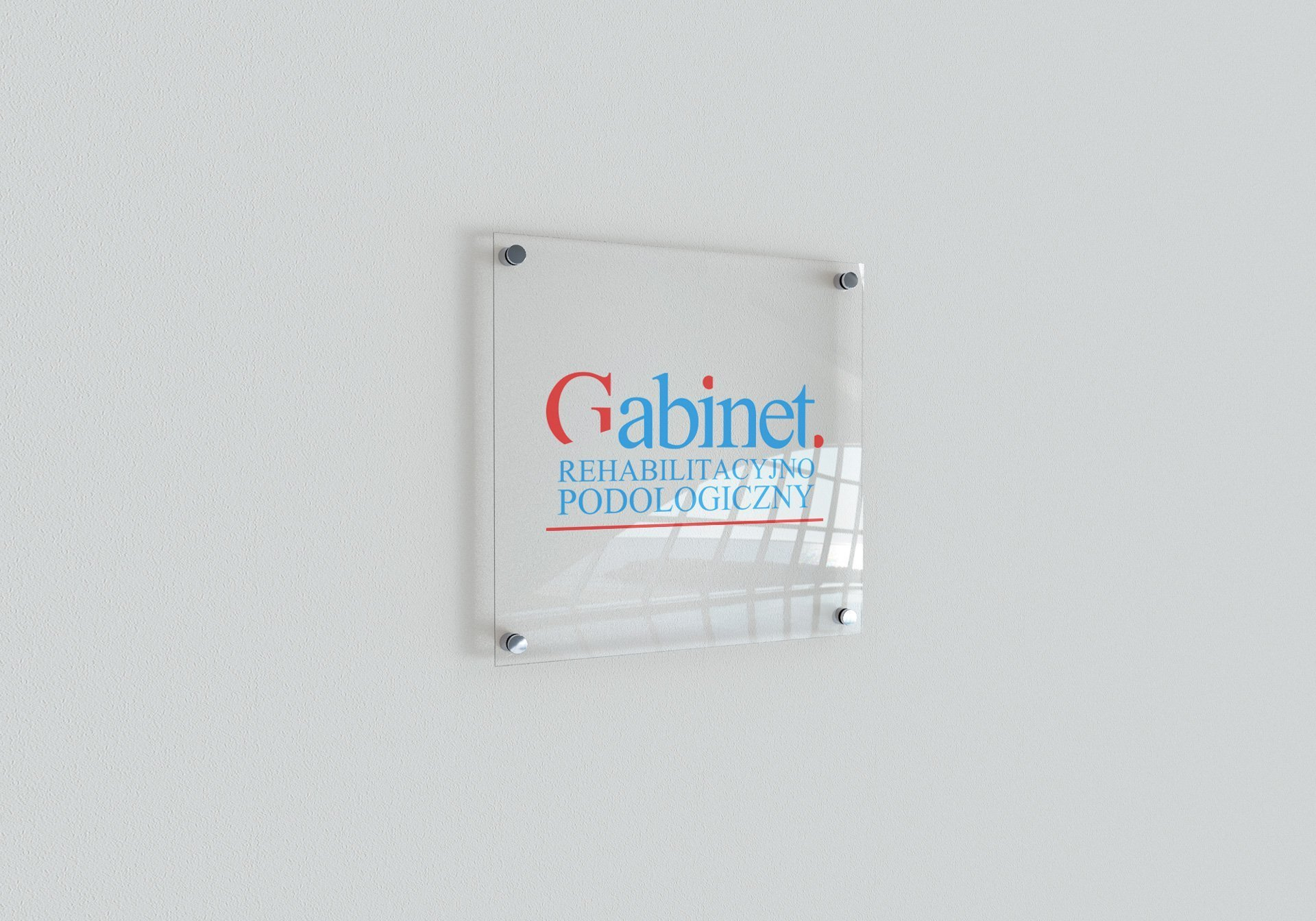 Logotyp Gabinetu Rehabilitacyjno-Podologicznego na szkle (by BBIG.PL)